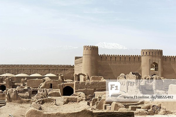 Ruins  towers and walls of the fortress citadel Arg-e Rayen  Kerman Province  Iran  Asia