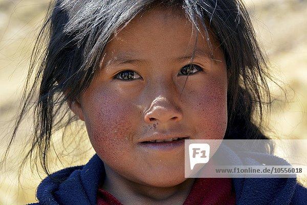 Native Peruvian girl  portrait  Cusco  Peru  South America