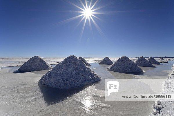 Piles of salt  Salar de Uyuni  Altiplano  Bolivia  South America