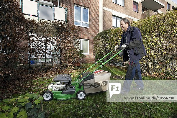 Hausmeister mäht Rasen mit Rasenmäher  Hausmeister-Service  Deutschland  Europa
