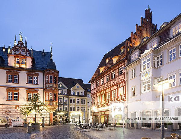 Historic residential and commercial buildings and Stadthaus building on the market at dusk  Coburg  Upper Franconia  Bavaria  Germany  Europe