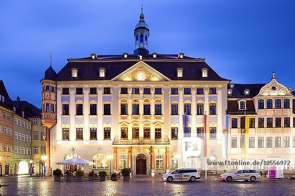 New Town Hall on the market square at dusk  Coburg  Upper Franconia  Bavaria  Germany  Europe