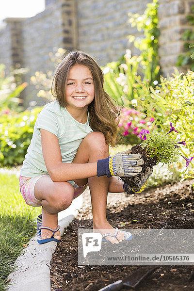 Europäer, Garten, Mädchen, Hinterhof, anpflanzen, Setzling