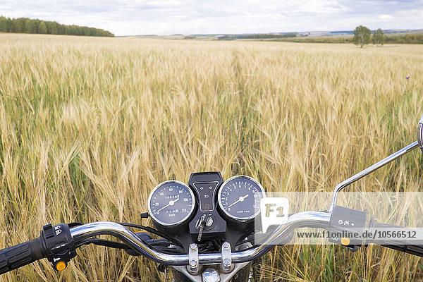 groß großes großer große großen Motorrad Gras Fahrradlenker Lenker