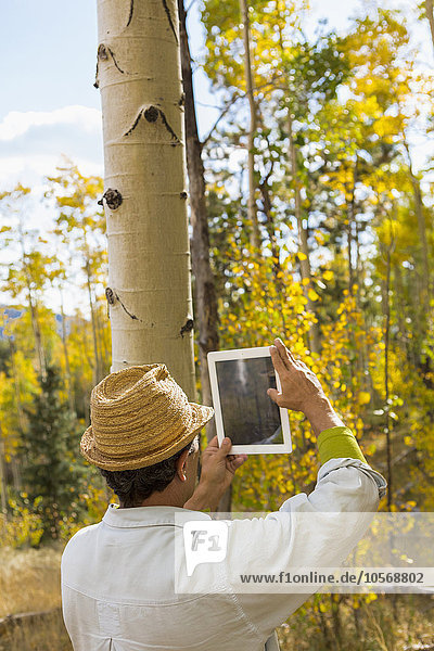 Man photographing with digital tablet in autumn forest