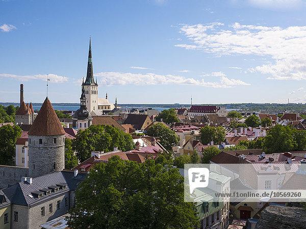 Tallinn Hauptstadt hoch oben Stadtansicht Stadtansichten Ansicht Flachwinkelansicht Winkel Estland