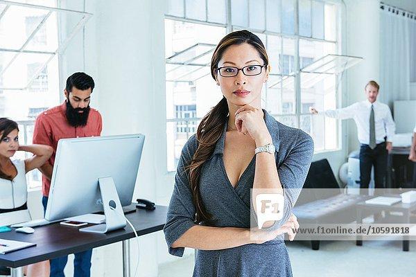 Geschäftsfrau  Kolleginnen und Kollegen  die am Computer arbeiten.