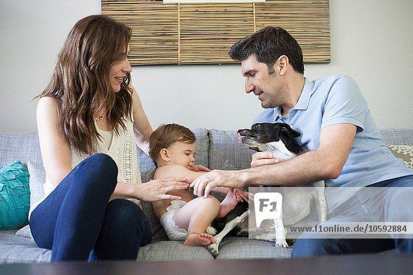 Familie mit Babyjunge auf Sofa sitzend  mit Hund spielend