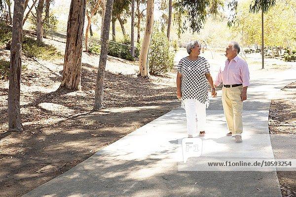 Seniorenpaar geht Hand in Hand  im Freien