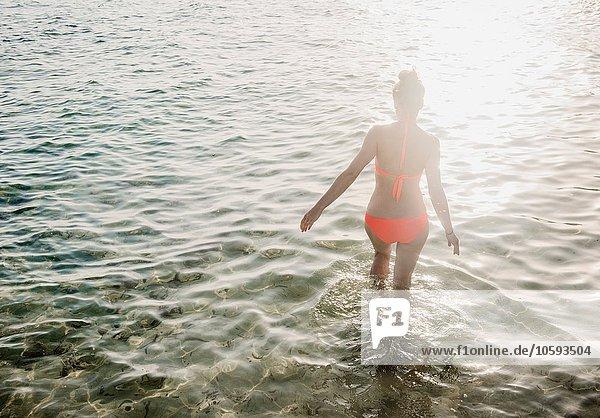 Frau Bikini Meer paddeln Mittelpunkt Rückansicht Ansicht Kleidung Sonnenlicht Erwachsener