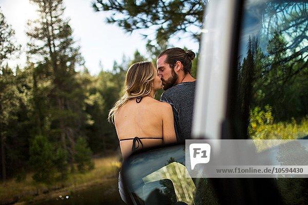 Rückansicht eines romantischen jungen Paares am Flussufer  Lake Tahoe  Nevada  USA