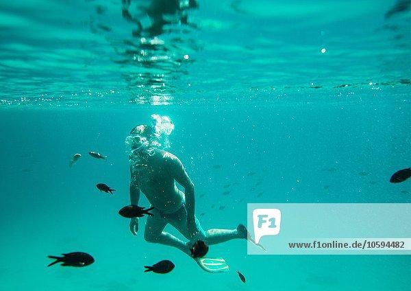 Unterwasserblick auf den Menschen beim Schnorcheln  Menorca  Balearen  Spanien