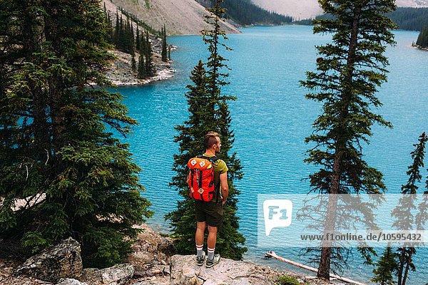 Rückansicht eines erwachsenen Mannes am Felsrand mit Blick auf den Moraine Lake  Banff National Park  Alberta Canada