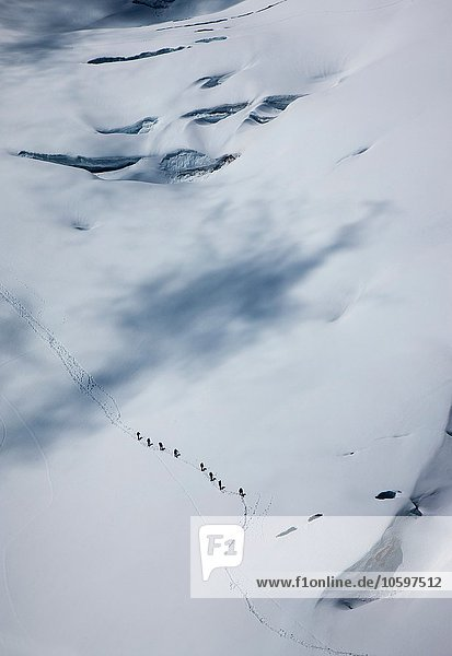 Distant high angle view of climbing team crossing glacier at Mont Blanc  Chamonix  Haute Savoie  France