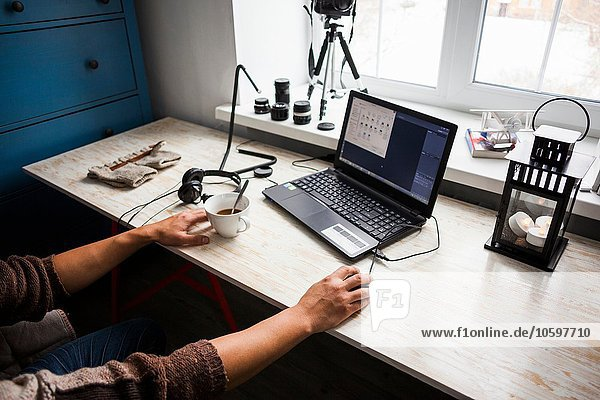 Mittlerer Erwachsener Mann am Schreibtisch sitzend mit Laptop  Mittelteil