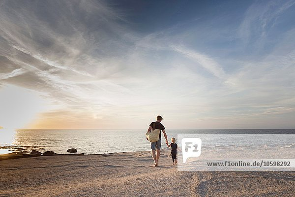 Mature man strolling with his toddler daughter on beach at sunset  Calvi  Corsica  France