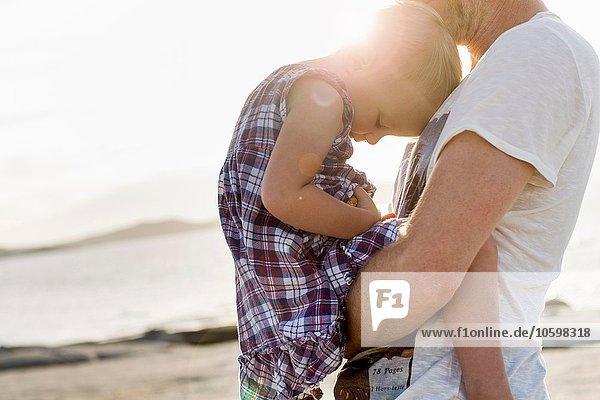 Mature man holding his toddler daughter on beach  Calvi  Corsica  France