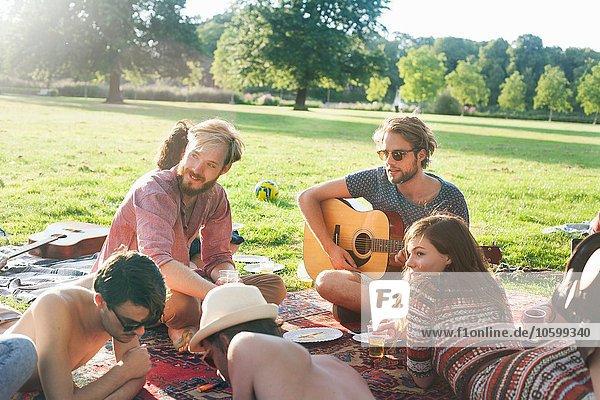 Gruppe von Freunden  die sich auf dem Teppich bei der Sunset Park Party entspannen