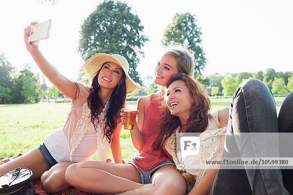 Weibliche Freunde nehmen Smartphone Selfie auf Park-Party