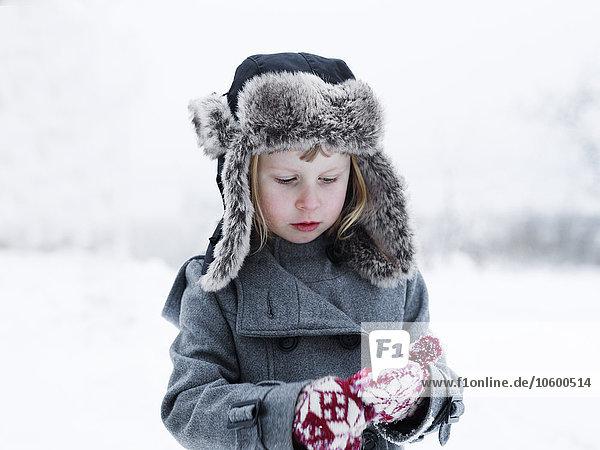 Girl in woollen clothes