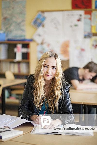 Teenage girl in classroom