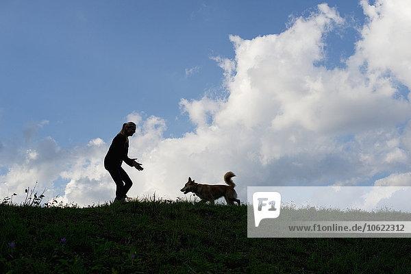 Silhouetten von Frau und Hund auf einer Wiese