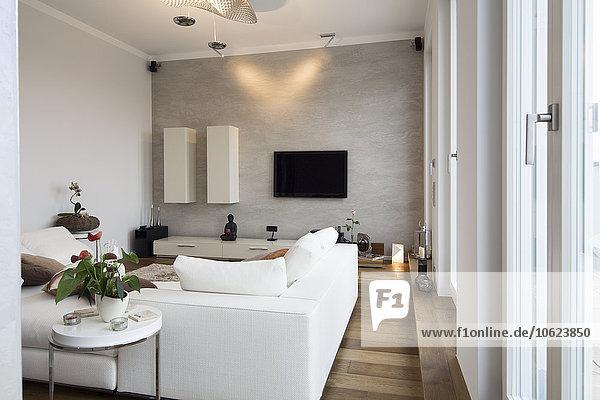 Interieur der modernen Wohnung  Wohnzimmer mit weißer Couch