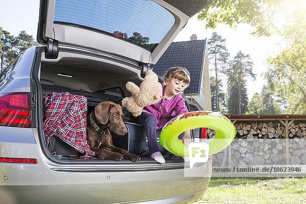 Mädchen im Kofferraum mit Hund und Teddybär