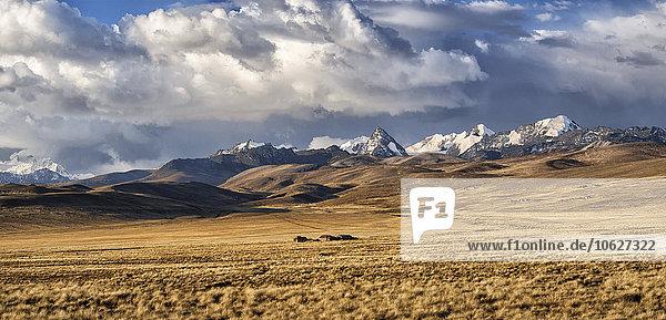 Bolivien  La Paz  Altiplano  kleine Häusergruppe im bolivianischen Plateau mit Cordillera Real Bergen im Hintergrund