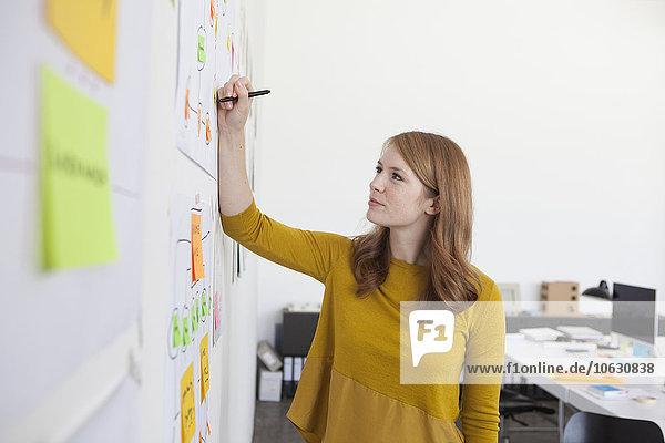 Junge Frau im Amt steht neben Organigramm