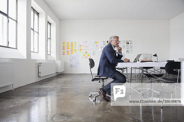 Reife Geschäftsleute sitzen im Büro mit Laptop