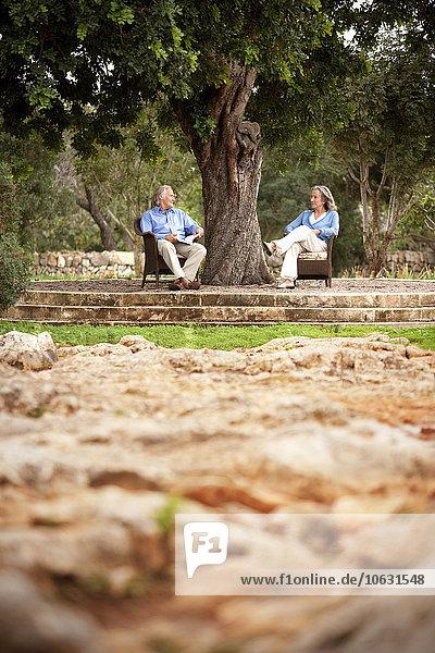Paar auf Stühlen unter einem Baum sitzend Paar auf Stühlen unter einem Baum sitzend