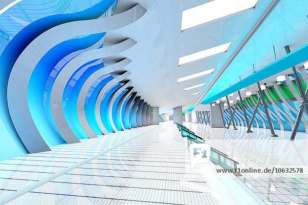 Innenansicht der futuristischen Halle  3D Rendering