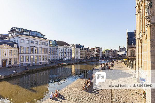 Belgium  Ghent  old town  Korenlei and Graslei  historical houses at River Leie