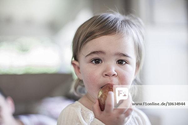 Kleines Mädchen beim Essen eines Apfels