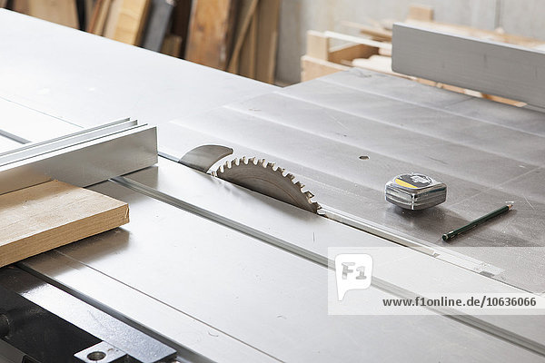 High angle view of sliding table saw in workshop