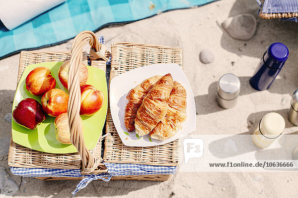 Lebensmittel Strand Korb Getränk