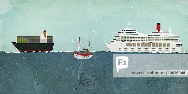 Illustration der auf See fahrenden Boote