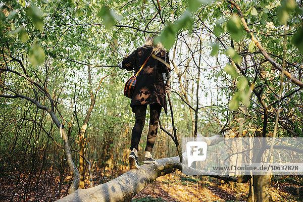 Frau gehen Baum fallen fallend fällt Wald Rückansicht Ansicht Länge voll