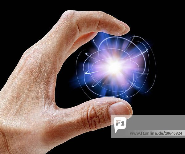 Person holding particle
