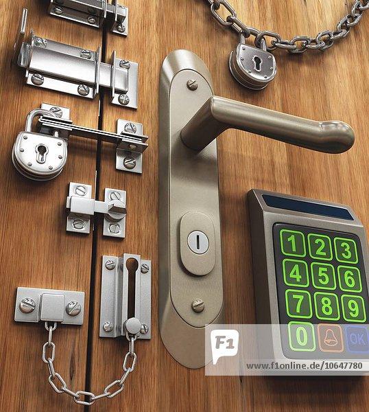 Door with various locks,  artwork