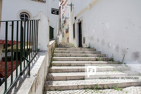 Narrow streets in Alfama  Lisbon  Portugal.
