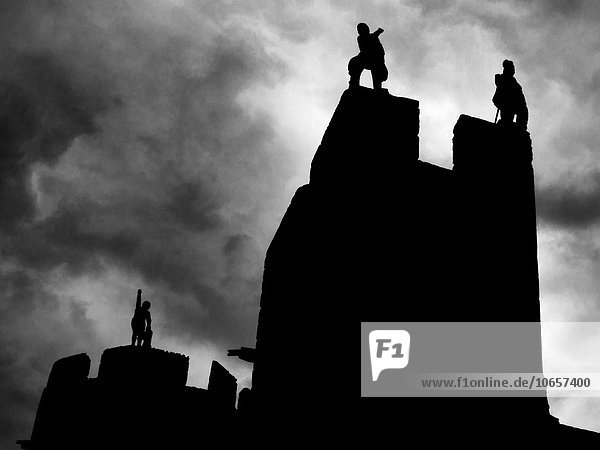 Statues on the Gatehouse at Alnwick Castle Alnwick Northumberland England.