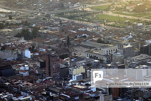 Historic centre and Plaza Bolivar at sunset  Candelaria  view from Cerro Monserrate  Bogotá  Colombia  South America