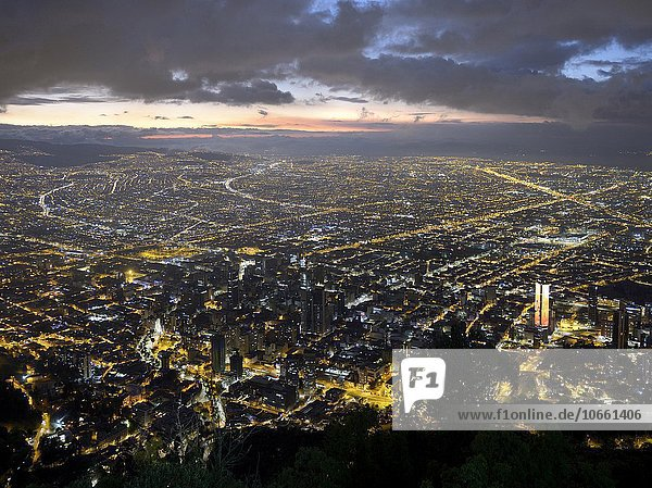 City centre at dusk  view from Cerro Monserrate  Bogotá  Colombia  South America