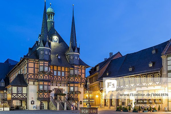 Market square and Town Hall at dusk  Wernigerode  Harz  Saxony-Anhalt  Germany  Europe Market square and Town Hall at dusk, Wernigerode, Harz, Saxony-Anhalt, Germany, Europe