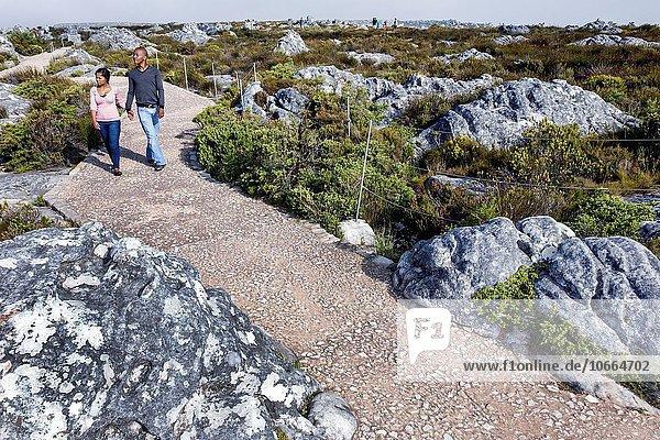 Südliches Afrika Südafrika Naturschutzgebiet Frau Mann folgen schwarz hoch oben wandern Kapstadt