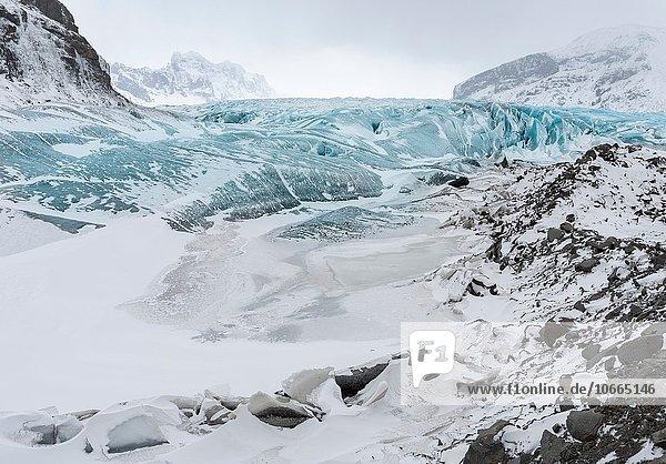 Europa Winter Gletscher Februar Island Nordeuropa