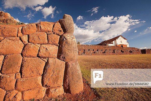 Wand Ruine Hintergrund Kirche antik Cuzco Cusco Inka Peru Südamerika