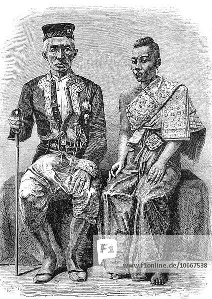 König von Siam mit seiner Frau  1863